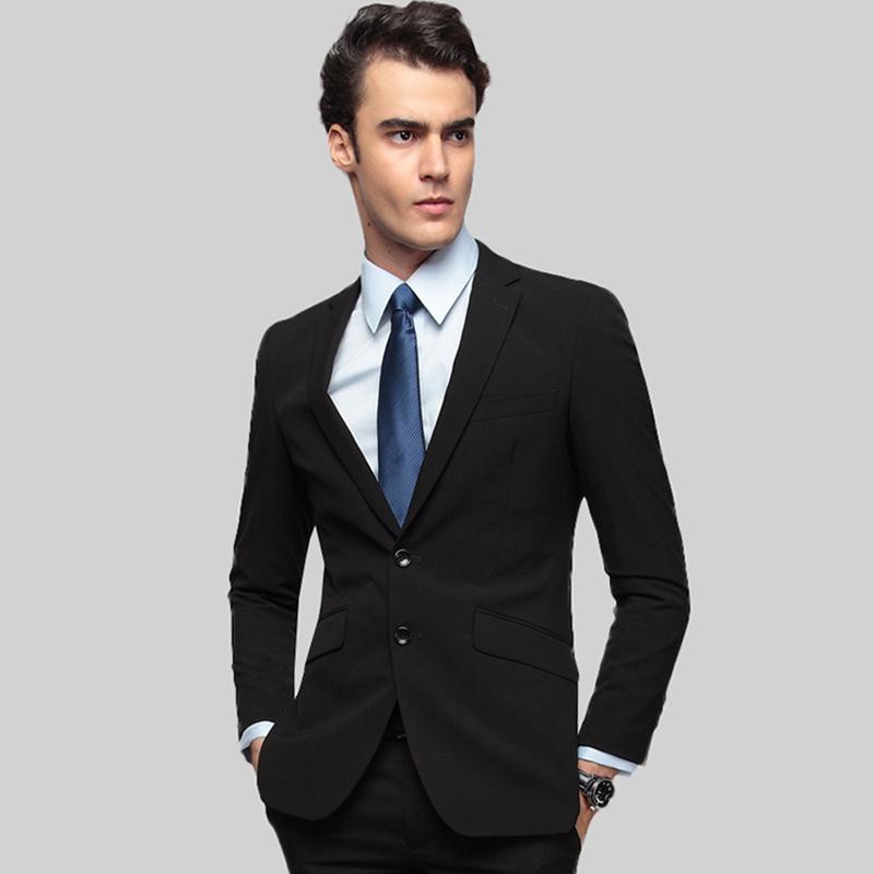 男士西装套装商务休闲韩版修身职业正装新郎结婚礼服纯黑色西服男