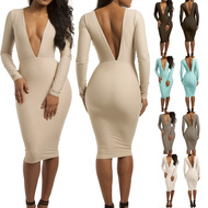 Open Back Mini See-through O-neck Spliced Simple Mesh Long Sleeve Sheath Long Sleeve Sexy Dresses picture 14