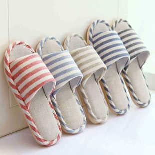 Korean version of the Four Seasons linen slippers home indoor slip heavy-bottomed men and women couple home cotton slipp