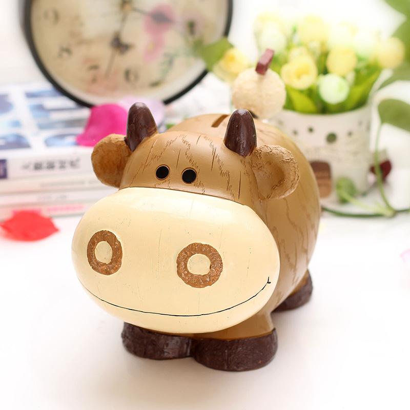 创意儿童礼品树脂生肖存钱罐 超萌牛羊狗熊猫动物储蓄罐家居摆件