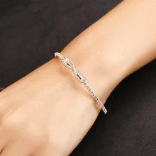韩国时尚热销爪链镶钻手镯女 数字8开口手镯 小清新简约手环 现货