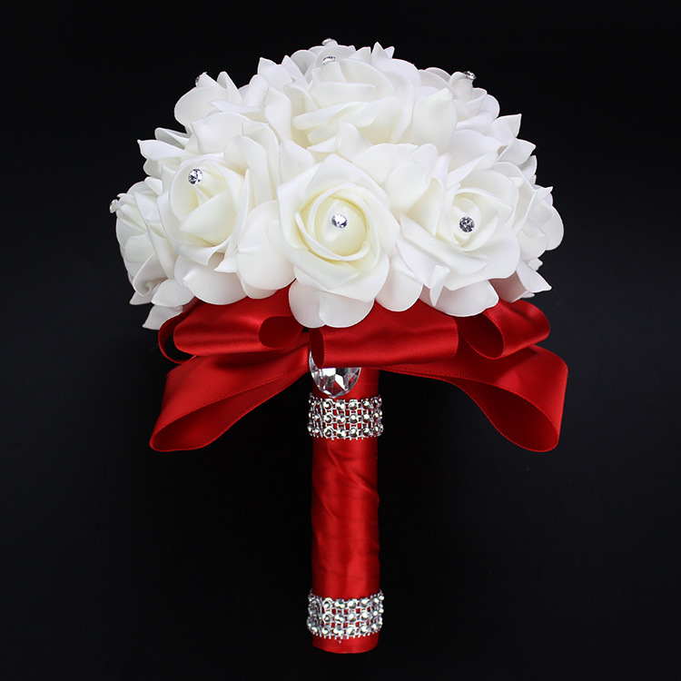 New Rose Artificial Bridal Bouquets Royal Blue Silk Ribbon ...
