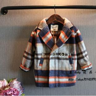 欧美范童大衣男女童装秋冬加绒格子中长款呢外套