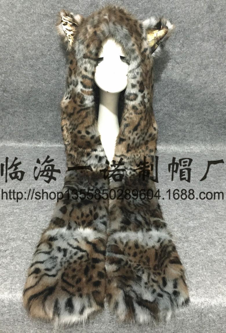 时尚帽子 欧美时尚围巾手套一体动物帽仿皮草帽子毛绒卡通帽虎纹豹纹 阿里巴巴