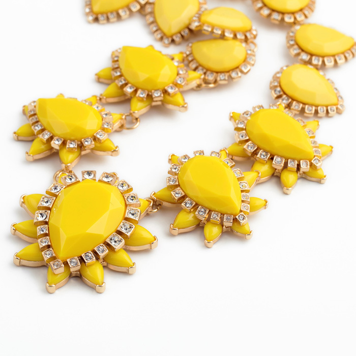 Occident alloy Drill set necklace ( yellow ) NHQD1362