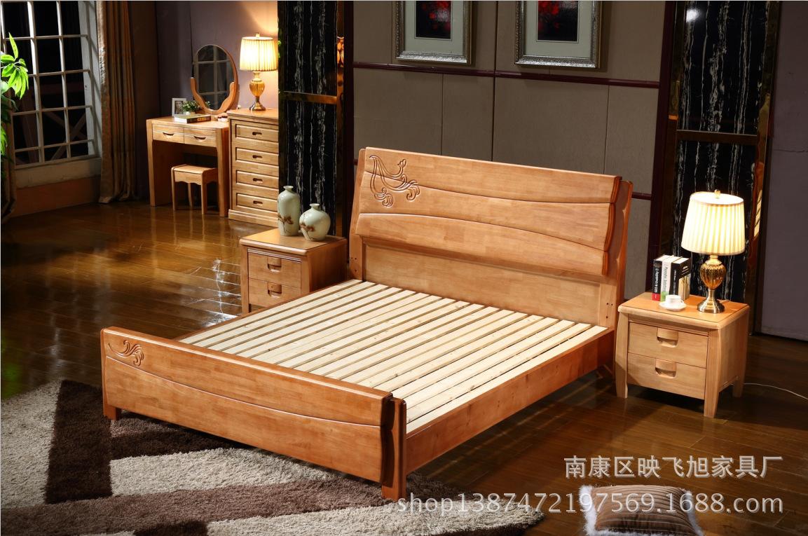 厂家直销 橡木卧室万博manbetx登录手机版全实木床 1.5米床1.8米橡木床中式床雕花床