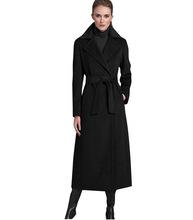 秋冬新款欧美时尚西装领超长无扣修身系带大码外套欧美超长大衣女