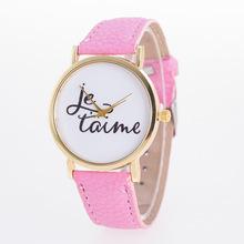 外贸热销手表 女士英文皮带表带扣时尚字母彩色休闲石英表
