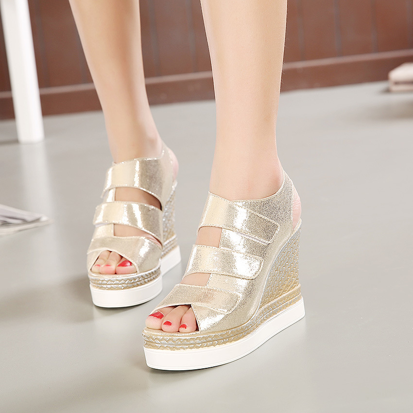 Europe and the United States 2016 new summer wedges fish mouth waterproof thick soled sandals female Muffin's main photo