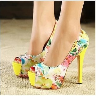 Lady colorful shoes high heel with flowers size 35-39's main photo