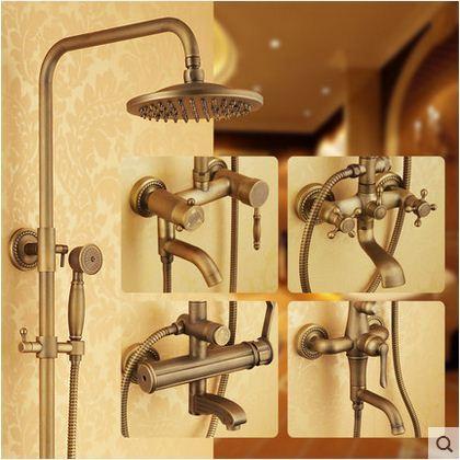 卫浴厂家 欧式仿古淋浴花洒套装全铜淋浴器手持复古三档花洒