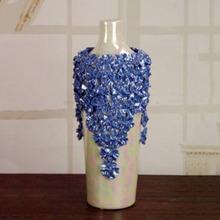 紫罗兰陶瓷花瓶摆件 手工捏花电视柜摆设 家居饰品客厅卧室