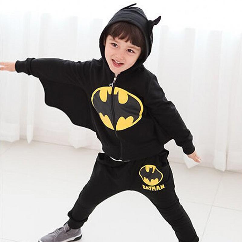 2019BAILIWEINI跨境长袖蝙蝠侠拉链套装连帽造型童套装一件代发