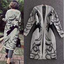 欧美大牌春秋抽象图案宽松蝙蝠袖加厚毛衣开衫中长款针织衫外套女