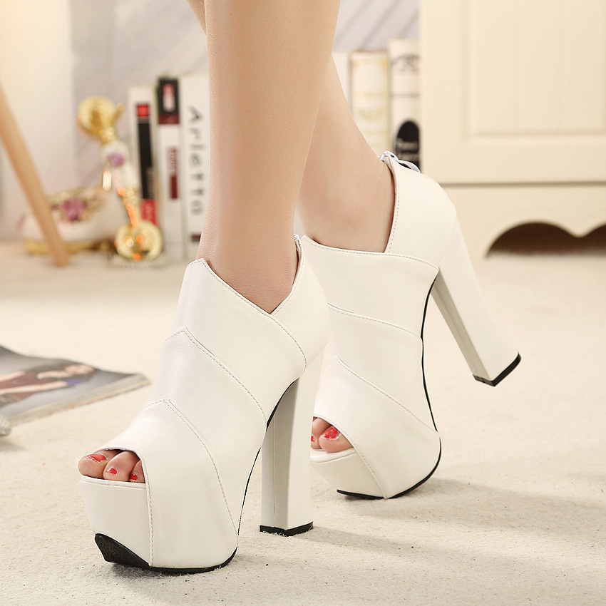 2016 spring new Korean fish mouth high-heeled boots waterproof boots with thick thick soled high-heeled shoes's main photo