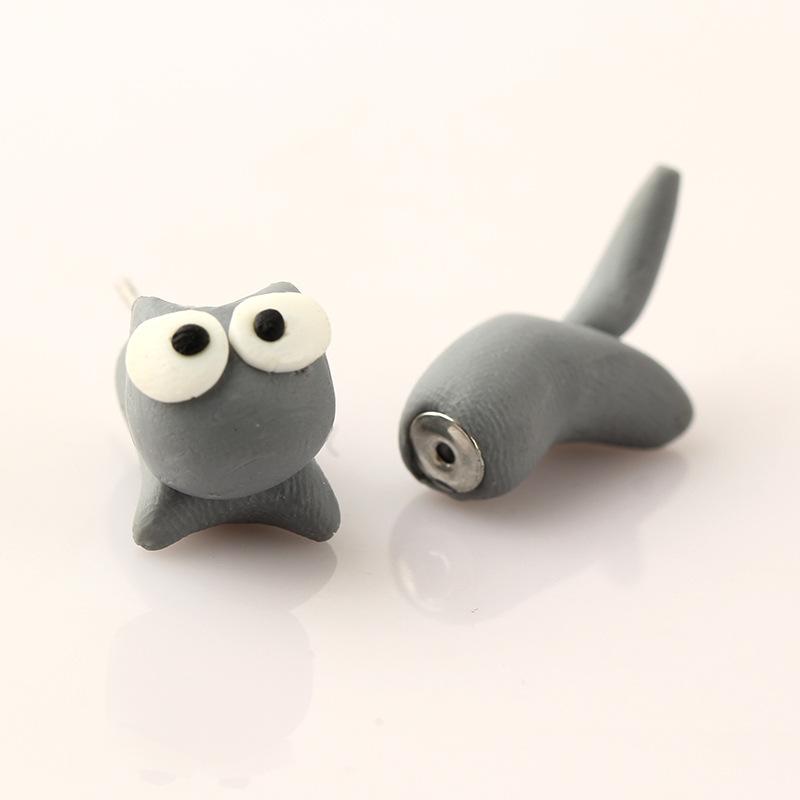 2015创意手工软陶动物猫咪个性分体耳环 爆款 e1661 e1662