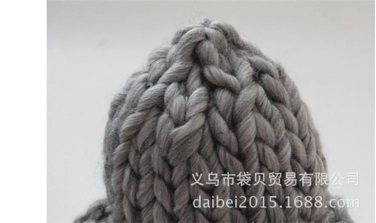 新款韩版潮超粗卷边手工编织毛线帽子儿童针织粗线帽秋冬款女士帽