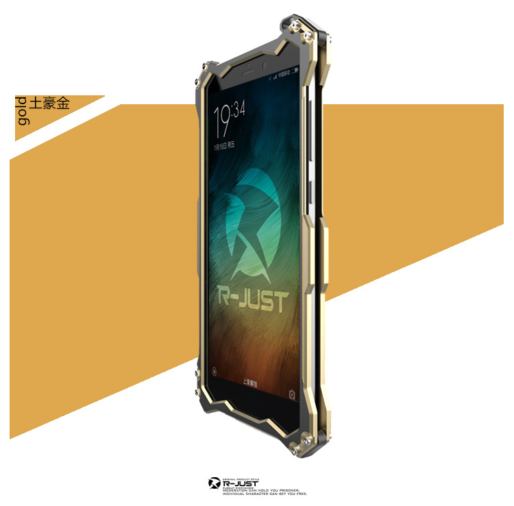 R-JUST GUNDAM Aerospace Aluminum Contrast Color Shockproof Metal Shell Outdoor Protection Case for Xiaomi Mi Note