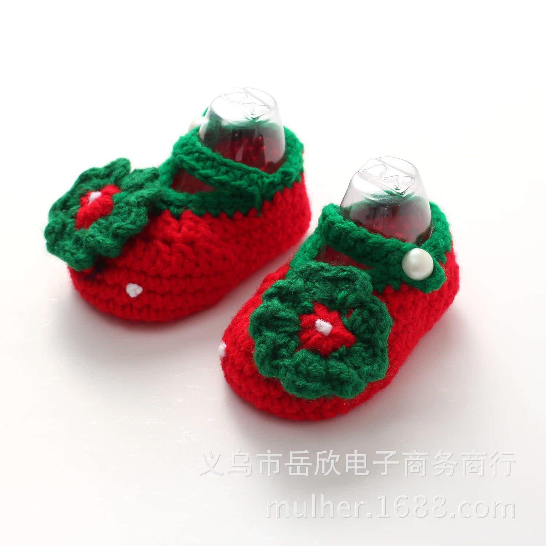儿童手工编织鞋 宝宝绒线 卡通童鞋 宝宝鞋 娃娃鞋婴儿钩针绣花鞋