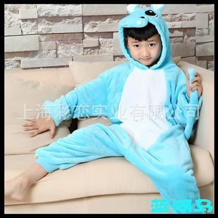 法兰绒儿童卡通动物连体睡衣 大象河马可爱如厕家居服 表演服