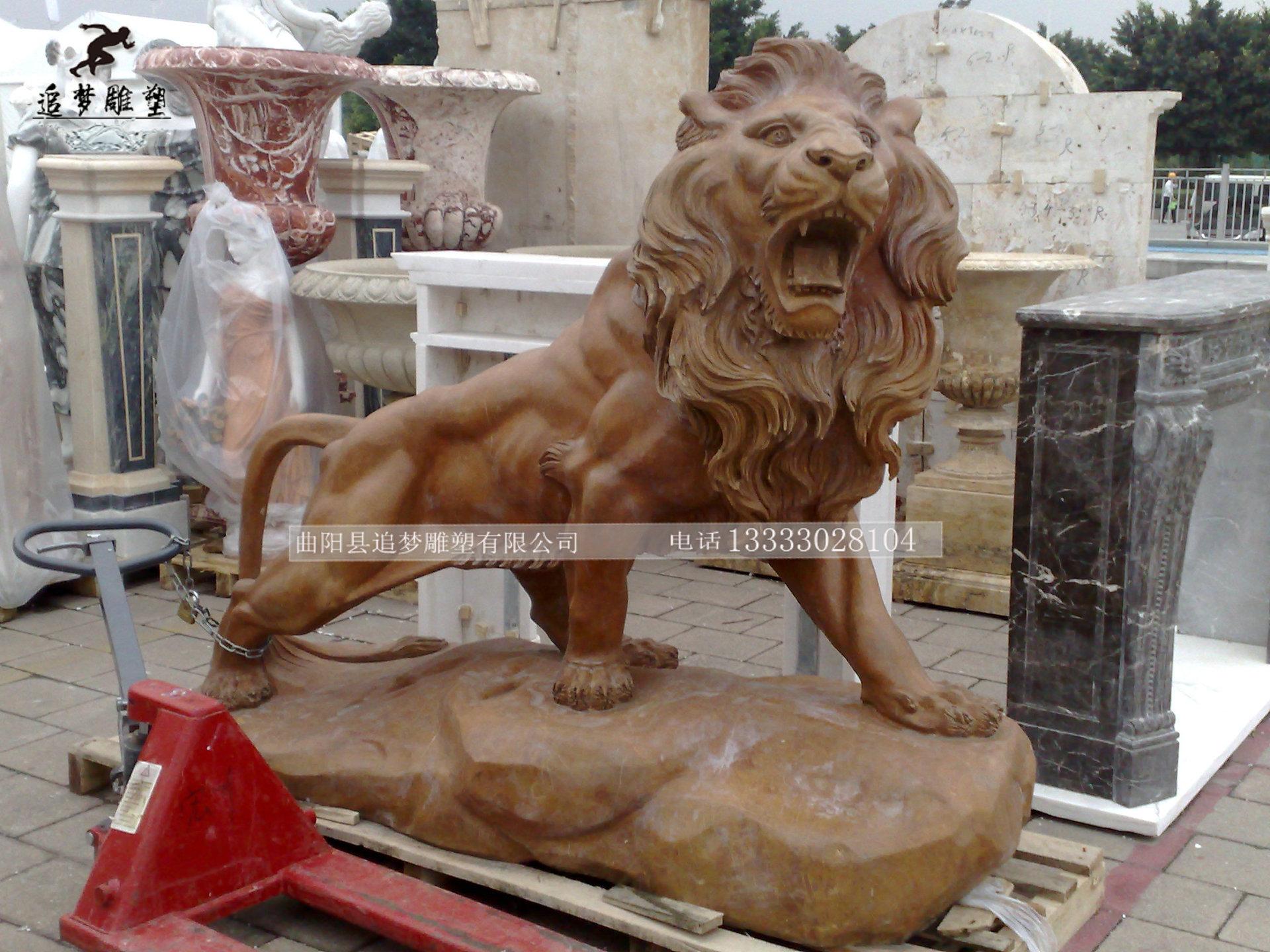 动物雕塑_青石石雕雄狮