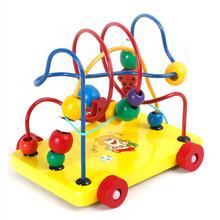 木制玩具智力拖?#31561;?#29664;批发 宝宝串珠婴儿益智儿童玩具0-1-2-3-6岁