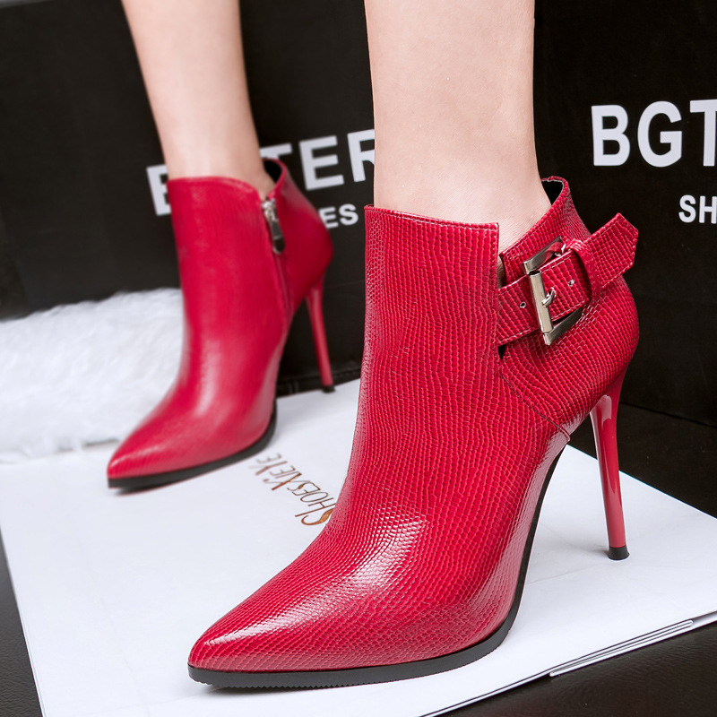 Sexy slim new winter shoes and fine pointed high-heeled boots fashion female snake boots's main photo