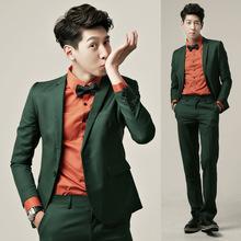 西服套装男士墨绿色男韩版修身职业正装伴郎小西装新郎结婚礼服潮