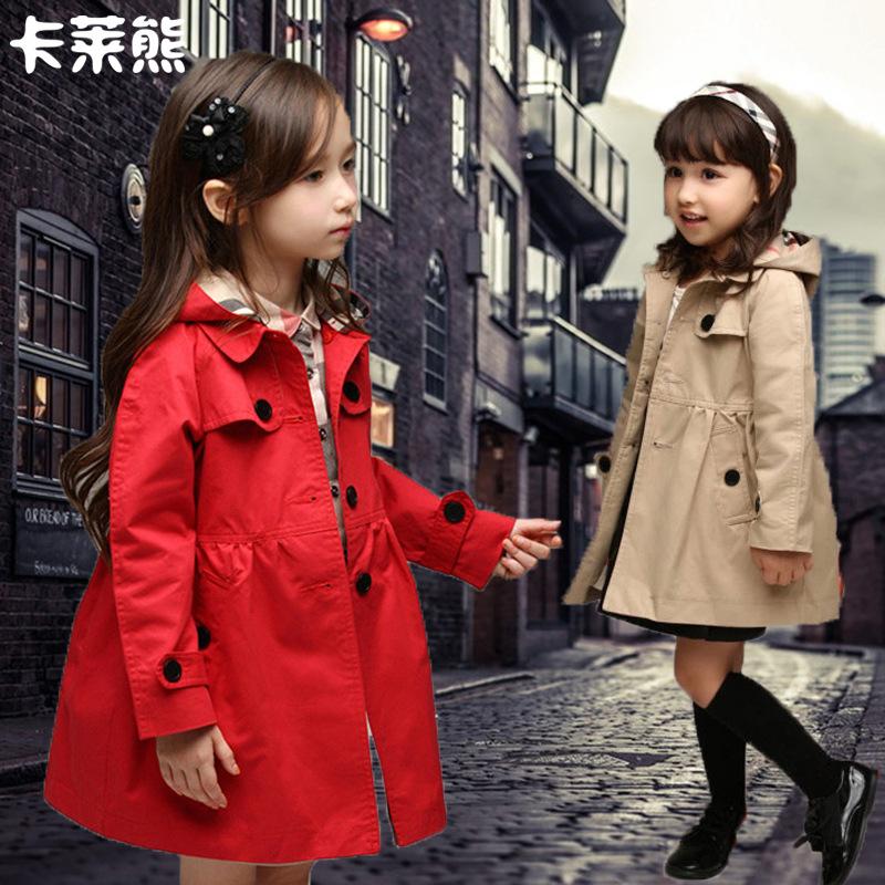春秋装2019韩版中大童女童风衣外套中长款秋装修身双排扣大衣外套