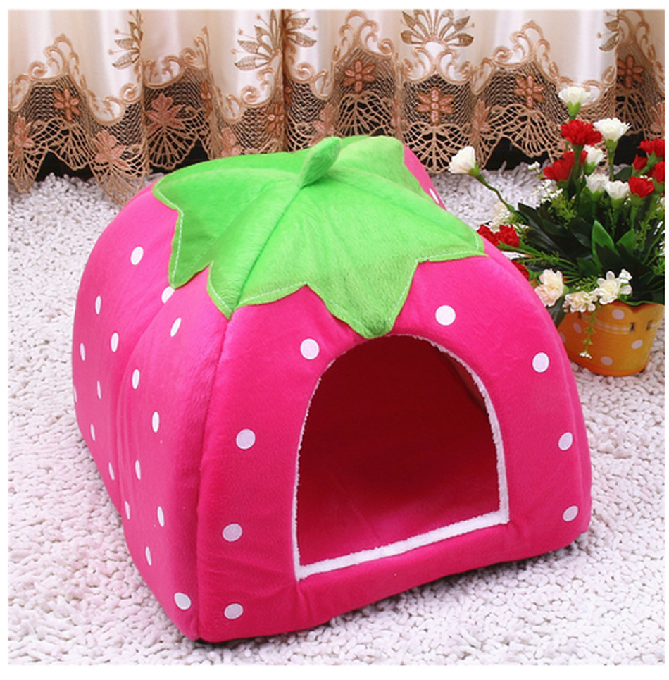 Cozy Cave Dog Bed Strawberry Lovely Pet Beds Cushion Factory