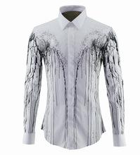 时尚潮男欧美风格纯棉长袖男式衬衫泼墨花纹斑点明星同款厂家直销