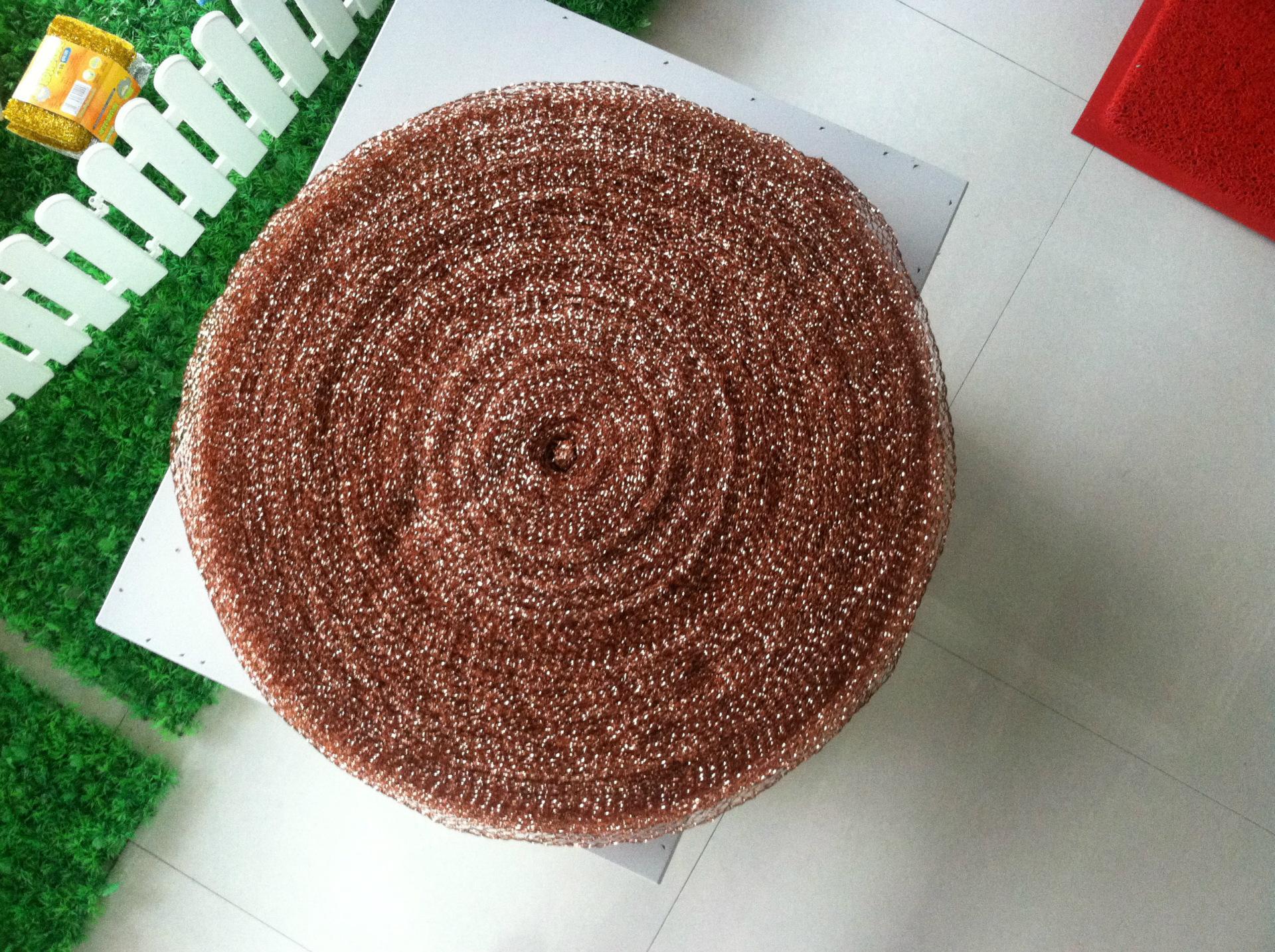 本纳米是把一整根镀铜铁丝清除成产品的新型清洁用品,主要用于编织球形抄网头图片