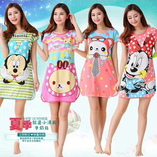 2016 Korean version of the new cartoon cute lady Siamese nightgown milk silk nightgown comfortable thin pajamas wholesal