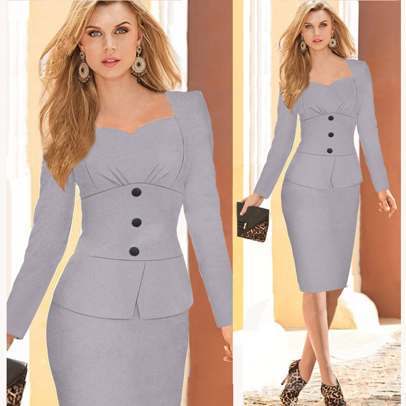 2017 Autumn Fashion Women V Neck Suits Skirt Career Slim Top And ...