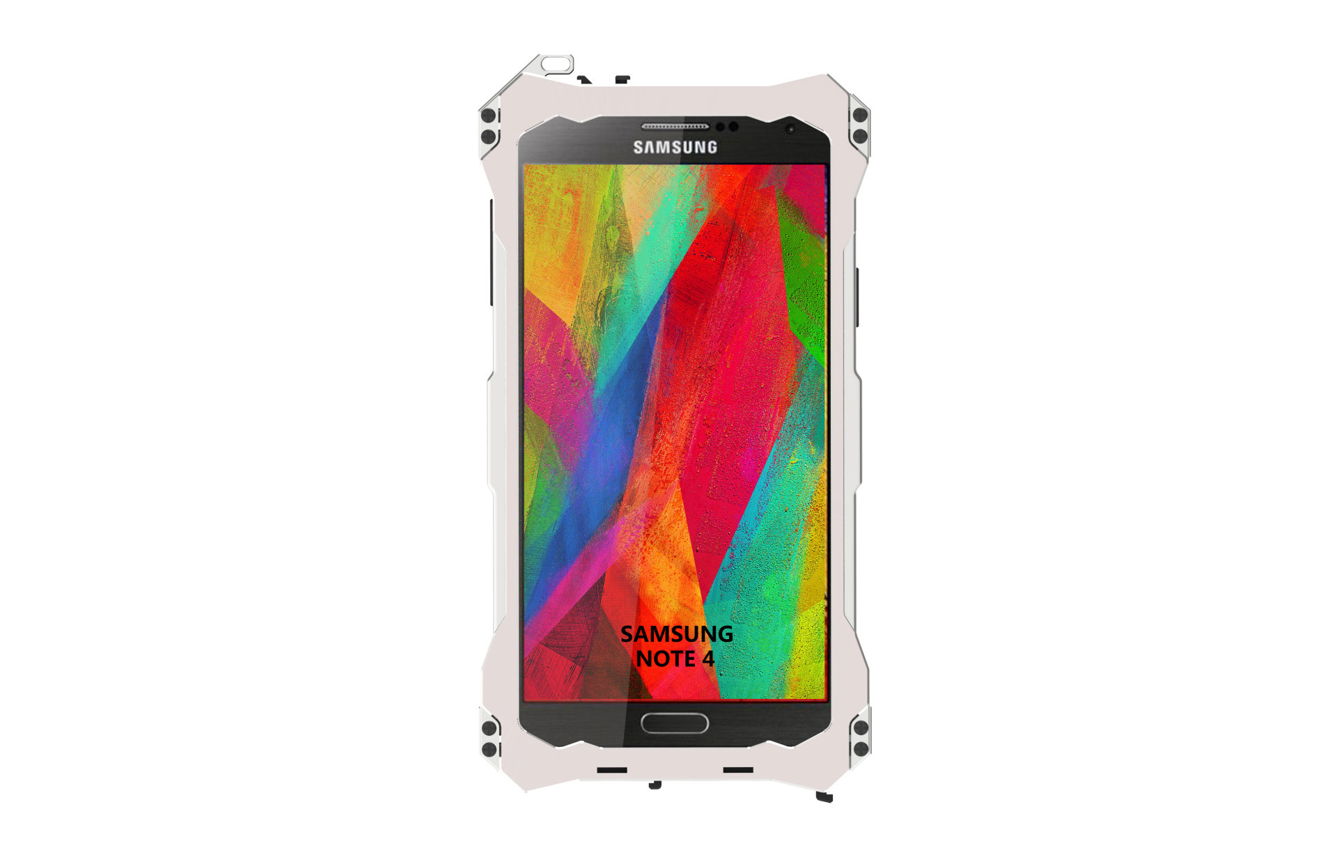 S.CENG Gundam Water Resistant Dustproof Shockproof Silicone Gorilla Glass Aluminum Alloy Metal Case Cover for Samsung Note 4