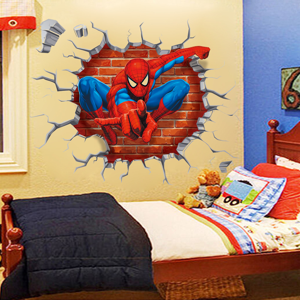 The New Spider Man 3d Creative Children\'S Room Bedroom Wall Stickers ...