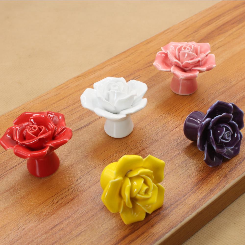 玫瑰花陶瓷拉手橱柜衣柜手捏卡通欧式现代简约彩色把手厂家批发