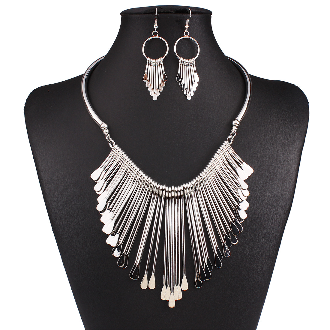 Occident wild temperament multilayer tassel necklace sets ( Silver ) NHNMD1069