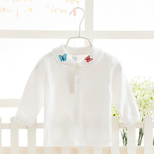 Kids Girls Spring and Autumn new long-sleeved cotton shirt white shirt female baby spring models bottoming children clot