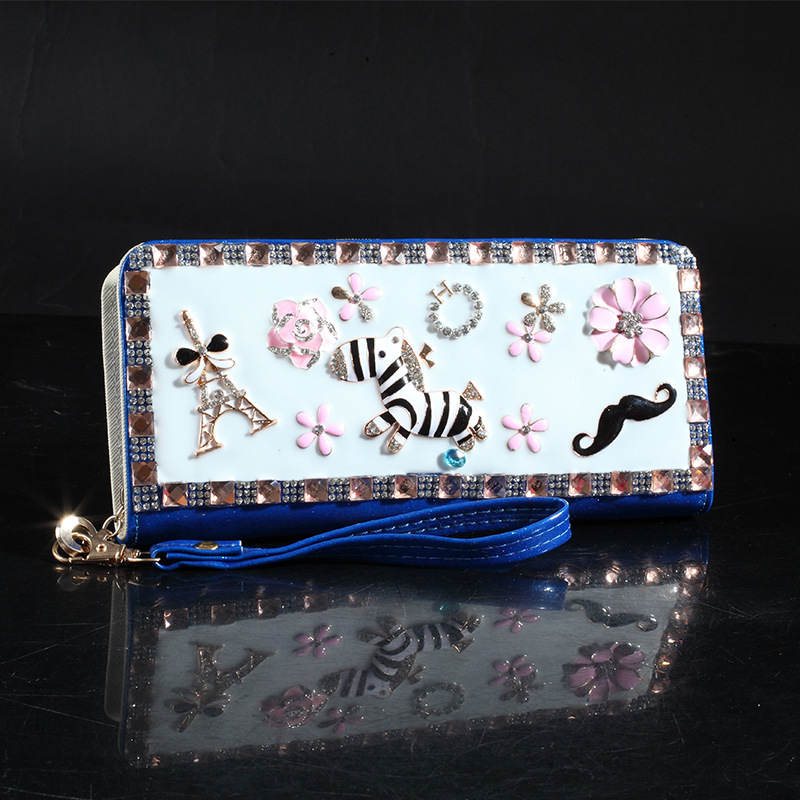 Diamond patent leather wallet korean design hot style fashion wallet for girls's main photo