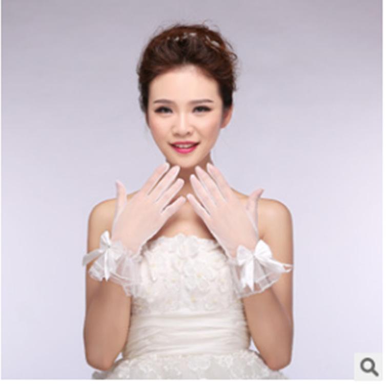 新款新娘结婚婚纱礼服手套 纱质蝴蝶结有指短款手套 婚纱礼服配件