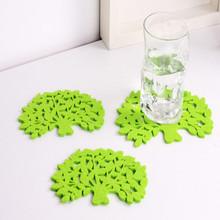 泰润生产供应枝繁叶茂 绿色 环保的树叶型毛毡杯垫 毛毡餐