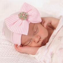 欧美新款条纹女宝宝大蝴蝶结闪亮钻粉色针织帽子 新生婴儿套头帽