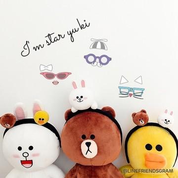 厂家直销新款韩国line friends布朗熊卡通可爱时尚兔耳朵发箍批发