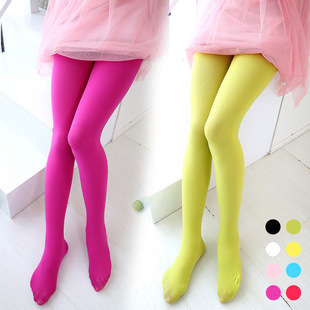 Children velvet leggings upshift new candy color rendering socks dance socks white-old girl