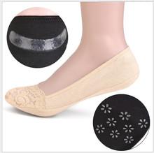 春夏韩国浅口隐形硅胶防滑袜头蕾丝船袜全棉防掉跟女纯棉袜子厂家