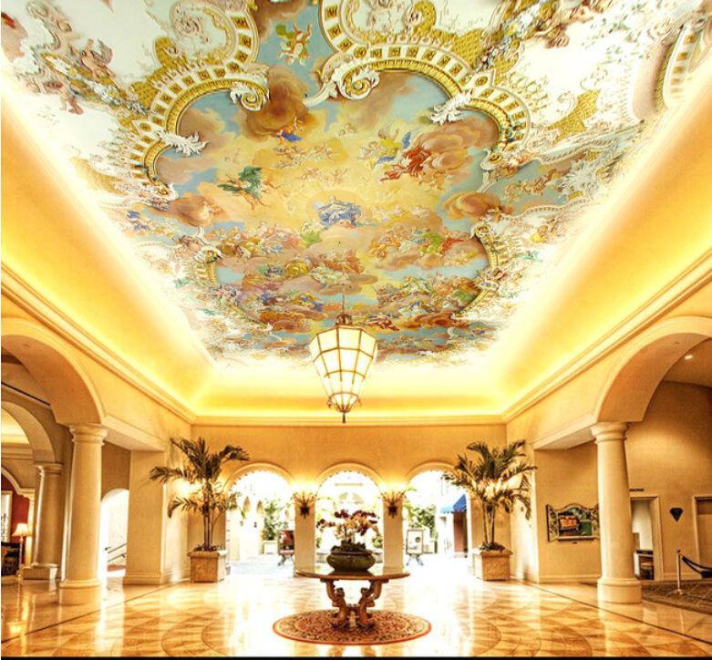 天花板欧式喷绘图
