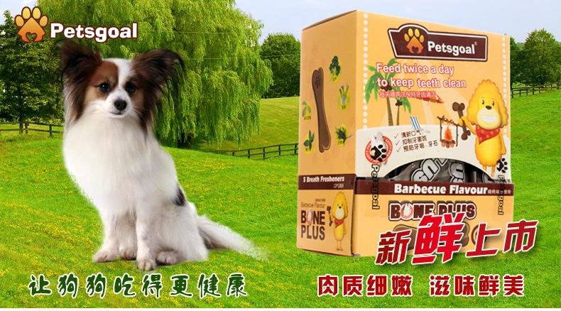 厂家直销现货批发 博士高 3寸牛肉味狗牙刷骨 宠物零食 盒