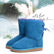 厂家直销雪地靴女鞋 中筒蝴蝶结绑带时尚真皮舒?#26102;?#26262;雪地女鞋