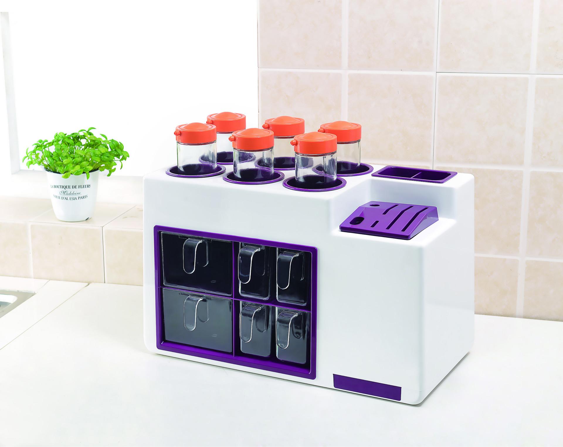 厨房置物架 多功能调料品厨房收纳 刀架调料架塑料厂家直销